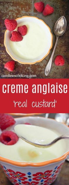 Creme anglaise or 'real custard' is smooth, creamy, gently sweet and delicious.Easy to make, delicious served chilled as a dessert or warm with eg crumbles/pies