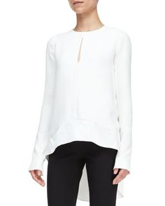 Long-Sleeve+High-Low+Blouse+by+Narciso+Rodriguez+at+Bergdorf+Goodman. $1100 - hoping to locate a cheaper version