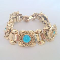 Vintage 1950's Religious Enamel Rhinestone Pearl Gold Tone Link Bracelet by BorrowedTimes on Etsy