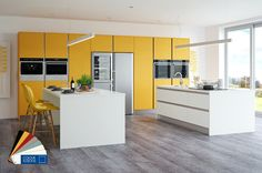 Crown Imperial's Rococo Yellow and White handleless kitchen with twin islands is a multi-functional design providing a dedicated island area or additional study space. Available in 11 ultra matt colours. Featured in June 2016 issue. Kitchen Family Rooms, Kitchen On A Budget, Kitchen Ideas, New Kitchen Designs, Interior Design Kitchen, Latest Kitchen Trends, Handleless Kitchen, Contemporary Kitchen Design, Modern Contemporary
