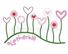 shabby chic machine embroidery designs   ... Heart Flowers - Valentine Applique Design - Machine Embroidery Design