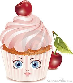 Illustration about Vector illustration of cartoon cherry cake with big eyes and mouth. Illustration isolated on white background. Illustration of mouth, close, white - 14635145 Candy Pictures, Cupcake Pictures, Cupcake Images, Cupcake Art, Cherry Cupcakes, Cute Cupcakes, Cupcake Quotes, Cupcake Clipart, Cupcakes Wallpaper
