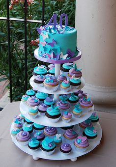 40th birthday purple turquoise and pink butterfly and hearts cupcake tower by Simply Sweets, via Flickr