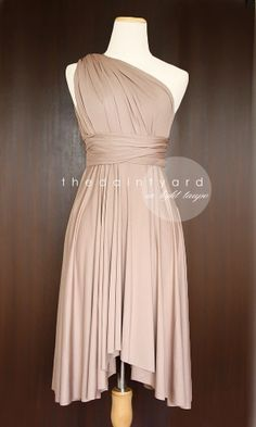 Light Taupe Bridesmaid Convertible Infinity Dress by thedaintyard, $34.00