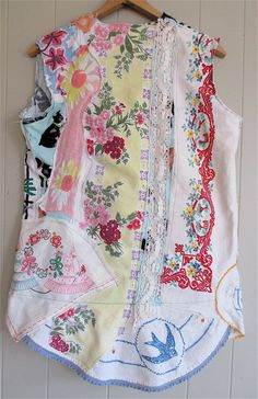 vintage linens galore VEST Fabric Collage Clothing by MyBonny