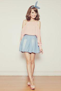Rumi Pleated Denim Skirt > http://shopwicket.tumblr.com/post/31653493798