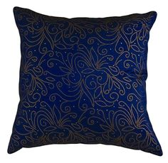 """Amazon.com - That's Perfect® Beaded Vine 18""""x18"""" Decorative Silk Throw Pillow Cover (Blue) - Blue Gold Pillow"""