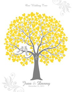 Wedding Tree with Love Birds Guest Book Poster, Engagement or Wedding Gift, Family Tree, Personalized with Your Own Colors, 16x20. $44.00, via Etsy.