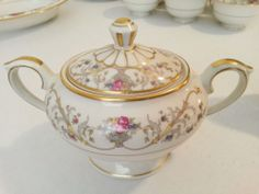 Vintage 35 Piece Lamberton Ivory China - Dorothea Pattern - Service for 6 Plus Sugar Bowl  Lid, Creamer, Platter  Serving Bowl