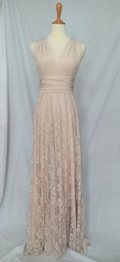 Full Length Convertible Infinity Wrap Dress in Champagne Cream with Lace Overlay…