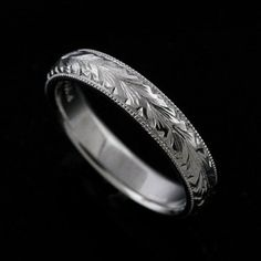 Hand Engraved Vintage Style Men\'s Wedding Band 6mm Wide Platinum   OroSpot - Jewelry on ArtFire