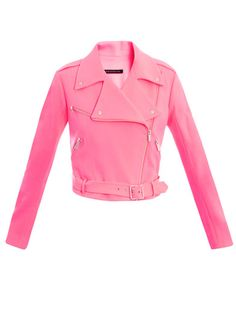 In a show-stealing neon-pink hue, this fashion-forward crepe biker jacket from Christopher Kane puts a soft spin on a tough-luxe wardrobe staple.