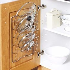 Cupboard Saucepans Pan Lids Storage Rack Holder - Holds 5 Lids