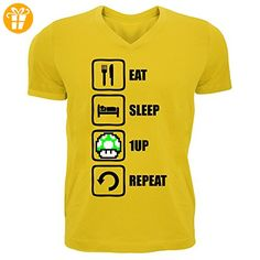 Eat Sleep 1UP Repeat Funny Mario Graphic Men's V-Neck T-shirt XX-Large (*Partner-Link)