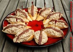 Tapas: Yellowfin Tuna with Onion and Anchovy on Bread.