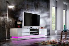 TV - Lowboard Gabriele inklusive LED Beleuchtung mit Fernbedienung Hochglanz weiß 1 x Lowboard TV Kommode /  Media-TV-Element mit 4 Schubkästen 2 Receiverfächer...