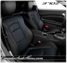 Nissan 370Z Black and Blue Leather Interior - Visit Us Anytime Online - canadaseatskins.com  #nissan #leatherseats #automotiveleather