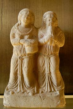 Louvre CA6819. Women playing the aulos and the tambourine. Terracotta figurine made in Syria, 2nd–3rd centuries AD.