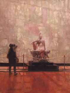 """Photographing the Chinese Temple Gallery, Nelson-Atkins Musem of Art, oil on board, 18""""x24"""" Private Collection #patricksaundersfinearts #saundersfinearts #nelsonatkins #figurepainting #oilpainting"""