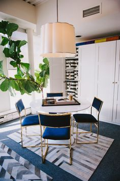 Blue velvet and gold tone chairs - dining room