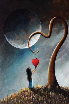 Disney Poster, Art Carte, Fairy Art, Moon Art, Heart Art, Whimsical Art, Surreal Art, Surrealism, Landscape Paintings