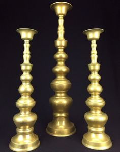 "Large Brass Candle Holder Set of 3 Candlesticks Opaque Green Edge Patina 24"" 18"""