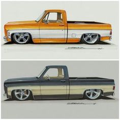 Some more sketches. C10 Trucks, Old Ford Trucks, Classic Chevy Trucks, Chevrolet Trucks, 67 72 Chevy Truck, Camionnette Chevy C10, F100, Old Pickup, Truck Art