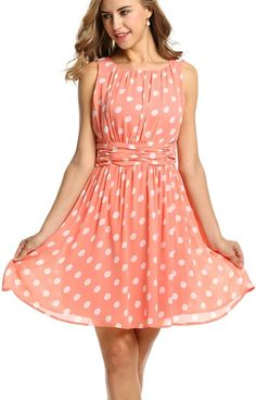 Halife Women's Casual Sleeveless Polka Dot Print Ruched Pleated Chiffon Dress -- Details can be found by clicking on the image. (This is an affiliate link and I receive a commission for the sales)