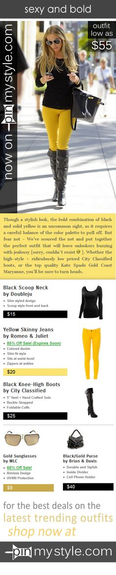 Now on http://pinmystyle.com/womens-style/skinny-jeans-outfit-long-black-boots/ -- Though a stylish look, the bold combination of black and yellow outfit is an uncommon sight, as it requires a careful balance of the color palette to pull off. // cute outfit // fashion // outfits // shop // sale // discount // beautiful // model // sunglasses // purse // shoulderbag