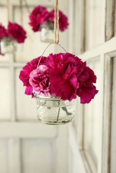 French Larkspur ~ small Mason jars hanging from a tree branch inside or outside .   Just lovely! Love the twine instead of wire!