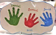 Clay impression handprints