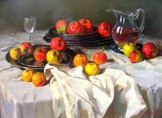 Stanislav Fomenok - Stilleben mit Äpfeln und Weintrauben