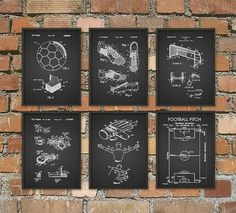 Football Soccer Patent Wall Art Poster Set of 6  by QuantumPrints