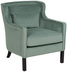 Welt trim and shining silver nailhead trim give a beautiful finished look to this lagoon fabric accent chair.