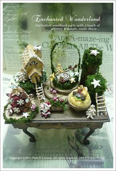 dollhouse miniature christmas table decorations | absolutely love the idea of how I decor displayed the log with moss.