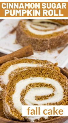 Cake rolls are so fun, you can really switch up the flavors and they are a complete refreshing change from layer cakes and sheet cakes. Plus who doesn't love when the frosting is swirled inside? I mean you literally get layers of frosting in each and every bite!  This one has cinnamon sugar on the outside and tastes amazing! The Best Pumpkin Cake Recipe, Pumpkin Bundt Cake, Pumpkin Cake Recipes, Sweet Desserts, Easy Desserts, Sweet Recipes, Dessert Recipes, Old Fashioned Cake Recipe, Sugar Pumpkin
