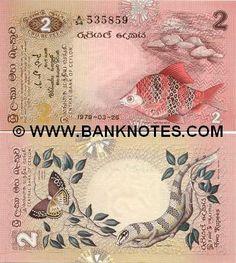 Sri Lanka 2 Rupees 1979 -  Obverse: Black ruby barb (Puntius nigrofasciatus); Reverse: Tamil Lacewing (Cethosia nietneri nietneri); Lizzard (Murraya cleniei). Watermark: Chinthe lion (chinze).