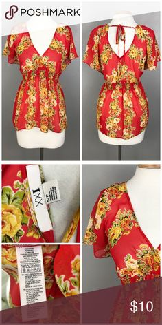 Red Beautiful Sheer Empire Floral Faux Wrap Top F21 Red & Yellow Sheer Empire Floral Faux Wrap Top. Size small (4-6), Thank you for looking at my listing. Please feel free to comment with any questions (no trades/modeling).  •Condition:  VGUC, no visible flaws.  25% off all Bundles or 3+ items! Reasonable offers welcome.   BIN: JB Forever 21 Tops Blouses