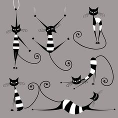 Vector Amusing cats design set 04