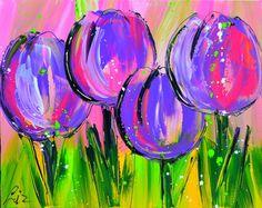 Afbeeldingsresultaat voor schilderij kleurig abstract tulpen