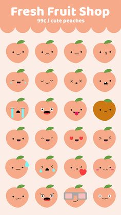 Fresh Fruit Shop peach stickers stickers for iMessage iMessage stickers Stickers Kawaii, Pop Stickers, Emoji Stickers, Tumblr Stickers, Printable Stickers, Journal Stickers, Planner Stickers, Korean Stickers, Cute Doodles