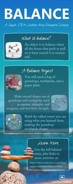 Balance is key to keeping us upright. And balance helps us walk without falling over. But did you know that forces play a part in balance? In this simple STEM lesson, we are going to learn a bit about balance and make a balance tower! Steam Activities, Science Activities, Stem Projects, Science Projects, Science Lessons, Teaching Science, Make Your Own Sign, Science Programs, Physics