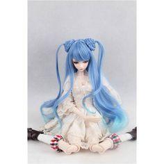 """[wamami] 97# Blue Straight Long Wig With Bun For 1/3 SD AOD DOD DZ BJD Dollfie 8""""-9"""""""