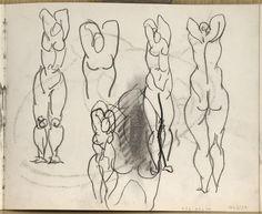Etude pour la demoiselle aux bras levés : buste de nu aux bras levés, de face ; nus debout aux bras levés, de face et de dos ; mars-juillet 1907. Carnet des Demoiselles d'Avignon
