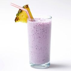 POST WORKOUT Blueberry-Pineapple Protein Shake - Combine 1 cup low-fat milk, 1/4 cup frozen blueberries, and 1/4 cup frozen pineapple in a blender; puree until smooth. (140 calories) The protein and carbs in milk help repair muscles and replenish cells' energy stores after a workout. Pineapple contains bromelain, a natural anti-inflammatory compound, which may reduce post-workout pain. (Sub almond milk for me)