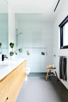 Simple, white, frameless glass, recessed shelf, black window frame + oak