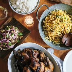 How To Throw a Filipino Food Dinner Party - Sunset Filipino Food Party, Filipino Recipes, Party Food Images, Sunset Magazine Recipes, Wine Recipes, Cooking Recipes, Easy Summer Dinners, Dinner Party Menu, Dinner Ideas