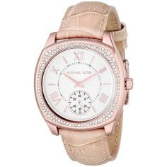 Michael Kors Bryn White Dial Nude Leather Ladies Dress Watch (£105) ❤ liked on Polyvore featuring jewelry, watches, leather wrist watch, leather crown, white dial dress watch, water resistant watches and dress watches