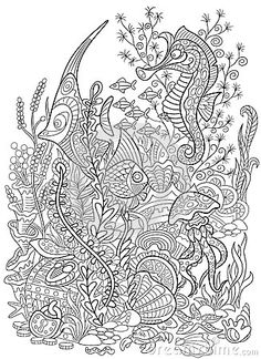 Zentangle Stylized Animal Set Sea Collection Ocean Life LifeStock IllustrationsStarfishColoring PagesZentangleStock PhotosMandalasColouring