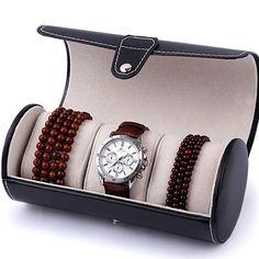 3 Slot Watch Travel Case PU Leather Roll Jewelry Collector Organizer Storage Box#88020
